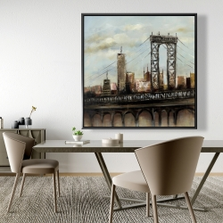Framed 48 x 48 - City bridge by a cloudy day