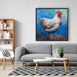Framed 48 x 48 - Grey rooster