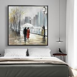 Framed 48 x 48 - Couple walking under the rain