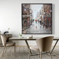 Framed 48 x 48 - City rain