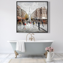 Framed 48 x 48 - Paris busy street