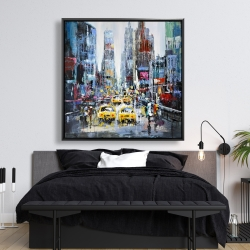 Framed 48 x 48 - Urban scene with yellow taxis