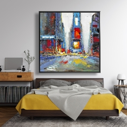 Framed 48 x 48 - Abstract and colorful buildings
