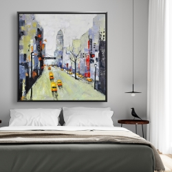 Framed 48 x 48 - Gray street with yellow and red accents