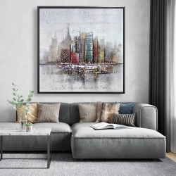 Framed 48 x 48 - Cityscape with typography in relief