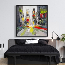 Framed 48 x 48 - Abstract texturized cityscape