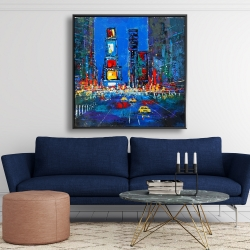Framed 48 x 48 - Colorful and abstract times square by night
