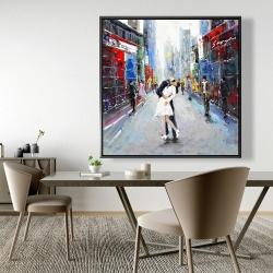 Framed 48 x 48 - Couple kissing on the street