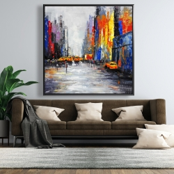 Framed 48 x 48 - Color spotted street with taxis