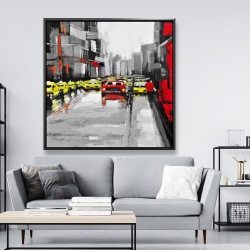 Framed 48 x 48 - Abstract traffic by a rainy day