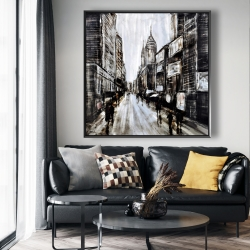 Framed 48 x 48 - Busy gray street
