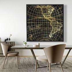Framed 48 x 48 - Black and marine world map globe