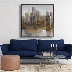 Framed 48 x 48 - Gray and yellow cityscape