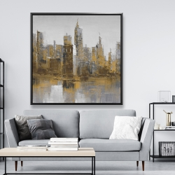 Framed 48 x 48 - Brown and gloomy cityscape