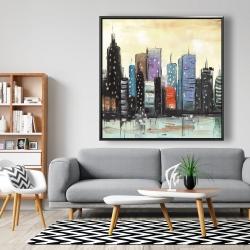 Framed 48 x 48 - Skyline on abstract cityscape