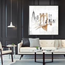 Framed 48 x 48 - Brooklyn bridge blurry sketch