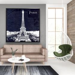 Framed 48 x 48 - Paris blue print and eiffel tower