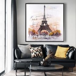 Framed 48 x 48 - Eiffel tower sketch with an handwritten message