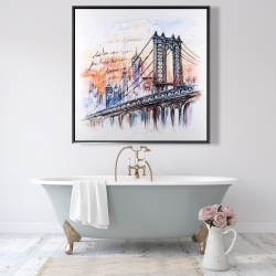 Framed 48 x 48 - Bridge sketch
