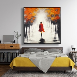Framed 48 x 48 - Woman with a red coat by fall