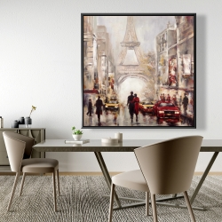 Framed 48 x 48 - Busy street of paris with eiffel tower