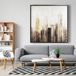 Framed 48 x 48 - Earthy tones city