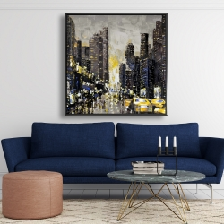 Framed 48 x 48 - Abstract and texturized city with yellow taxis