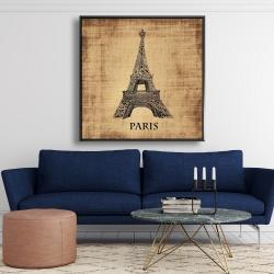 Framed 48 x 48 - Eiffel tower illustration