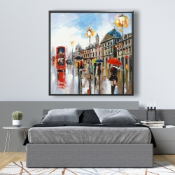 Framed 48 x 48 - Colorful street with red bus