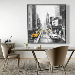 Framed 48 x 48 - Grayscale street with yellow cars