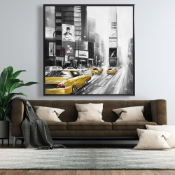 Framed 48 x 48 - Traffic of yellow cars in a gray city