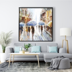 Framed 48 x 48 - Abstract rain in the city