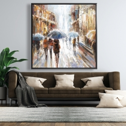 Framed 48 x 48 - Abstract passersby in the city