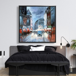 Framed 48 x 48 - Abstract red and blue city