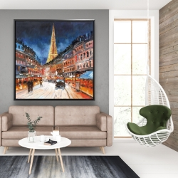Framed 48 x 48 - Red and blue paris