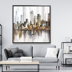 Framed 48 x 48 - Urban landscape and its sailboats