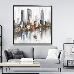 Framed 48 x 48 - Watercolor style city with boats