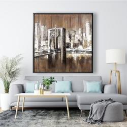 Framed 48 x 48 - Aged finish brooklyn bridge