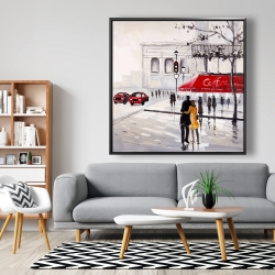 Framed 48 x 48 - Couple walking near a coffee shop