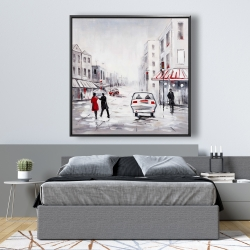 Framed 48 x 48 - Couple walking in the street with red accents