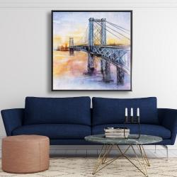 Framed 48 x 48 - Abstract brooklyn bridge