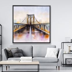 Framed 48 x 48 - Colorful brooklyn bridge