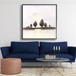 Framed 48 x 48 - Abstract landscape of trees
