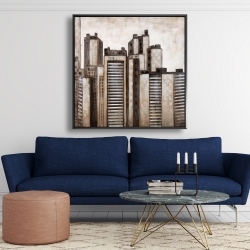 Framed 48 x 48 - Striped skyscrapers