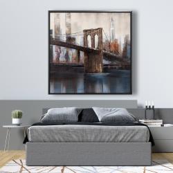 Framed 48 x 48 - Brown and blue brooklyn bridge