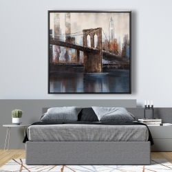 Framed 48 x 48 - Urban brooklyn bridge