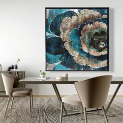Framed 48 x 48 - Blue flower montage