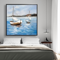 Framed 48 x 48 - Two boats on the water