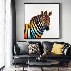 Framed 48 x 48 - Colorful profile view of a zebra