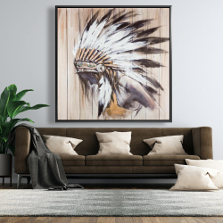 Framed 48 x 48 - Indian with feathers